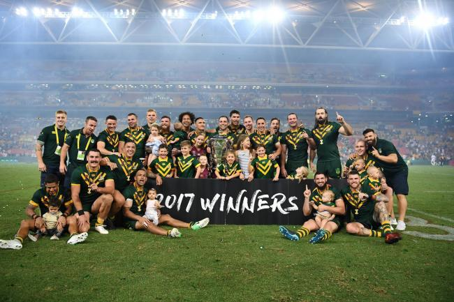 Australia pose with the trophy after the final of the 2017 Rugby League World Cup