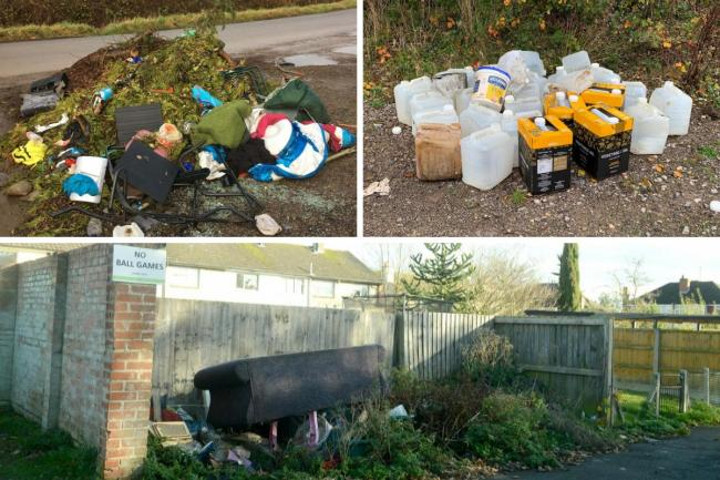 Top left - Flytipping in Malmesbury last year. Top right: Abandoned cooking oil in Devizes. Bottom: Fly-tipped waste, including a sofa, left in Calne in November