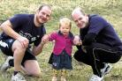 Lee Plank and Mark Fleckney with Mr Fleckney's daughter Robyn            (31096/02)