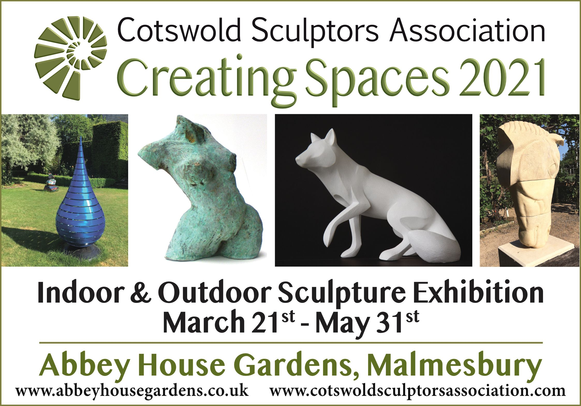 Creating Spaces 2021: Cotswold Sculptors Association Exhibition at Abbey House Gardens, Malmesbury.