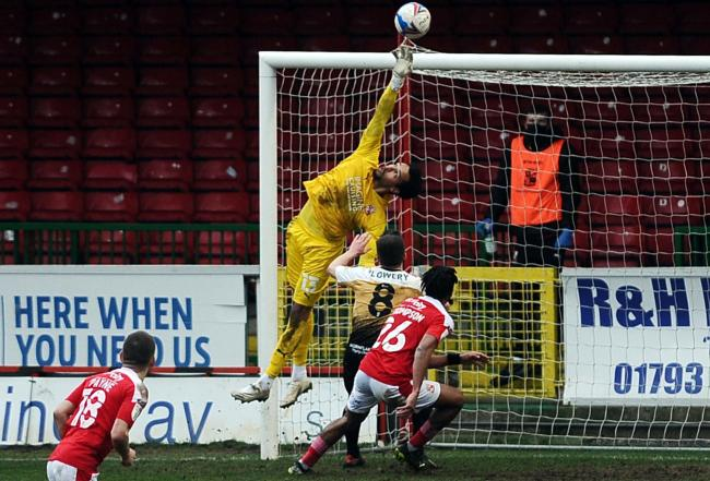 STFC v Crewe         Pic Dave Evans       20/02/2021.Jojo Wollacott crowns a great Town debut.