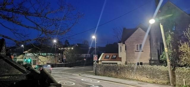 Bright LED street lights on the Frome Road in Bradford on Avon