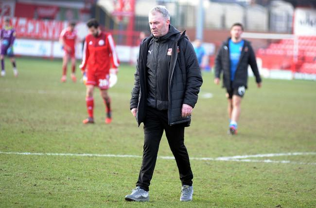 Accrington v STFC       Pic Dave Evans     6/3/2021.John Sheridan contemplates another Town defeat as he leaves the field at Accrington.