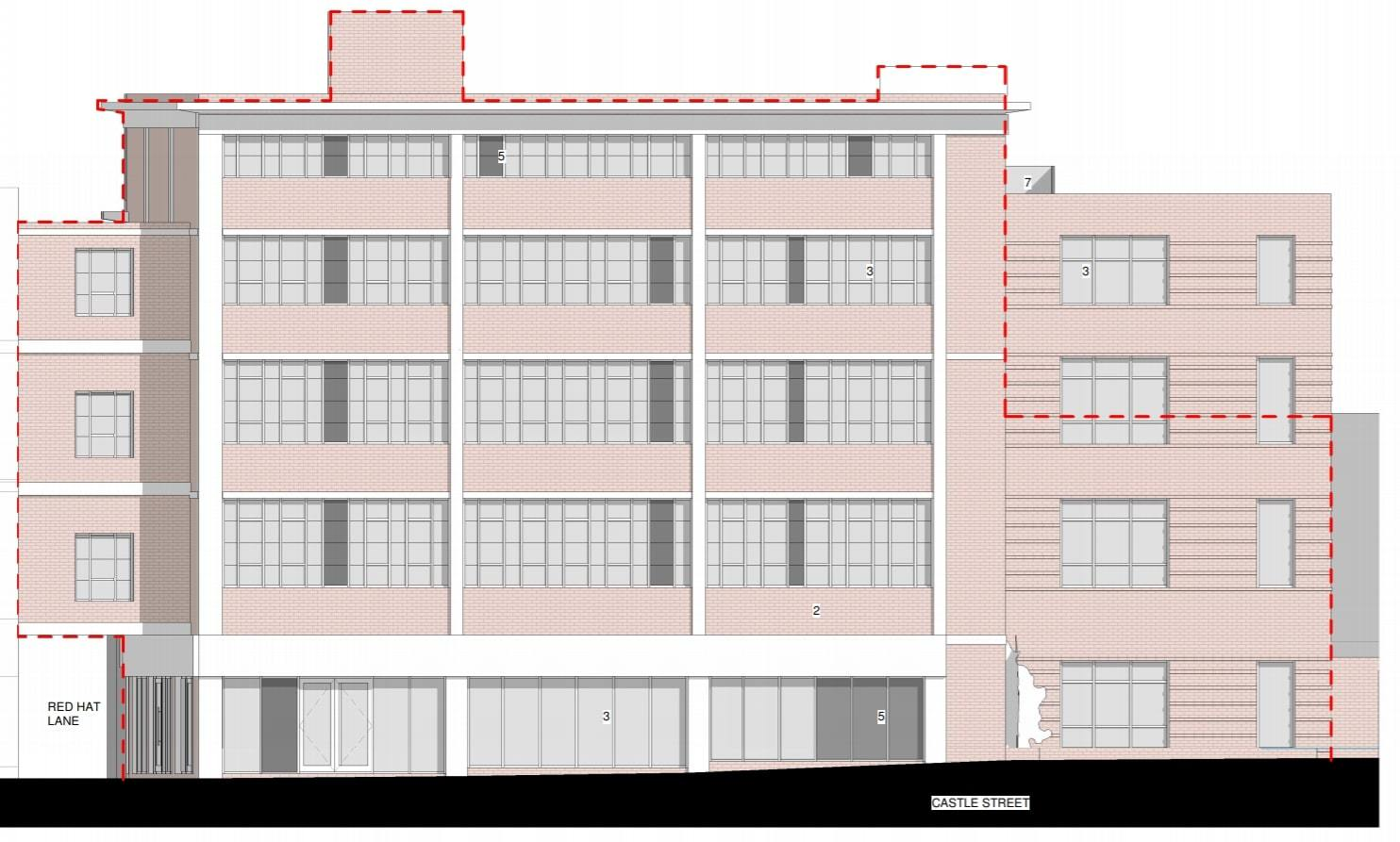 Side elevations for the proposed plans for the former Knees of Trowbridge building