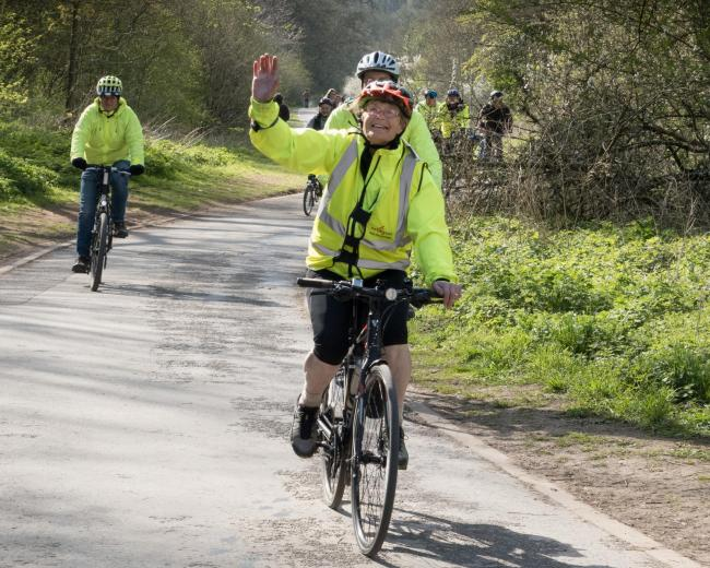 Judith Hammond arrives at Barton Farm Country Park with her cycling buddies