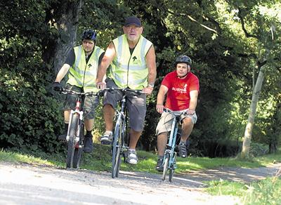 Adrian Hillier, Richard Beaven and Tony Hack campaigning for cycle way