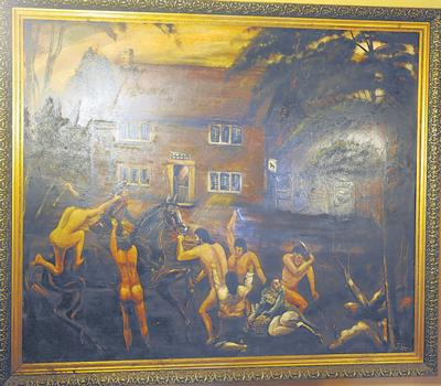 This painting of the Cherhill Gang, who stripped naked before waylaying unsuspecting travellers, hangs in The Black Horse.