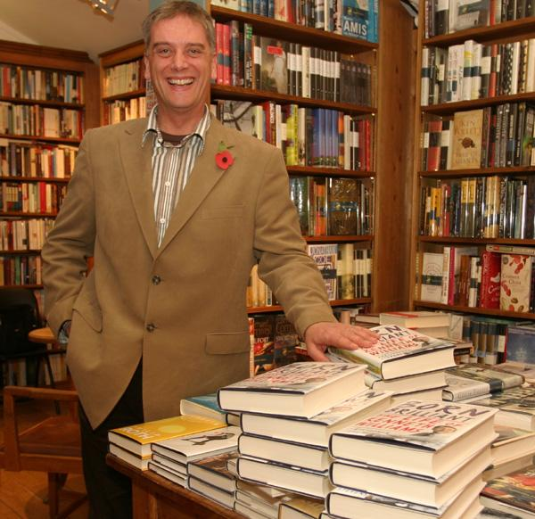Author Christopher Stevens at a book signing at Toppings of Bath