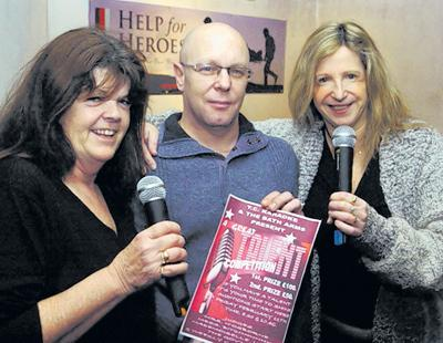 Ian O'Donnell and Jackie Gunton, right, with Cathy Stone of TC Karaoke, promoting their talent contest