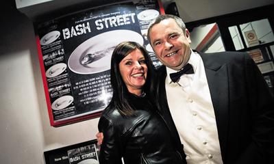 Director Ed Deedigan and actress Jan Graveson celebrate the success of the Chippenham premiere of Bash Street