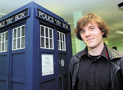 Luke Palmer with his TARDIS-shaped garden shed
