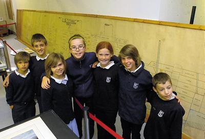 All Cannings pupils Finlay, Andrew, Georgie, Josi, Carra, Erica and Jasper with the plans
