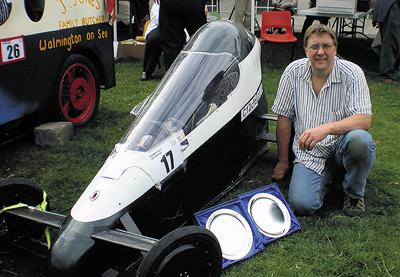 Thomas with his record-breaking creation C12, which has reached 70mph