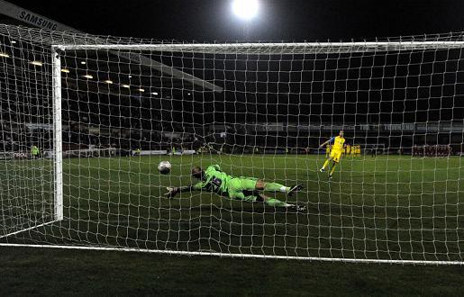 SAVING THE BEST: Phil Smith making one of three penalty saves