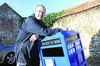 : Tim Beattie with his Tardis-themed litter bin, which is proving a hit with youngsters				             (38282) PICTURes by diane vose