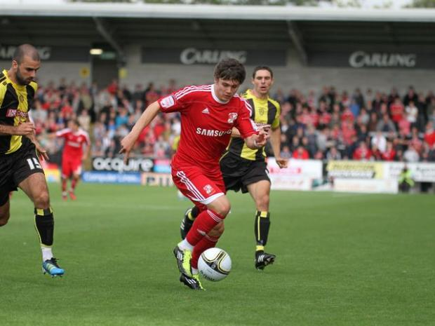 Town striker Miles Storey in action against Burton Albion