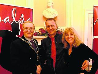 Chippenham Mayor David Powell with Mei Catherall and Helen Hylands of Salsa Source