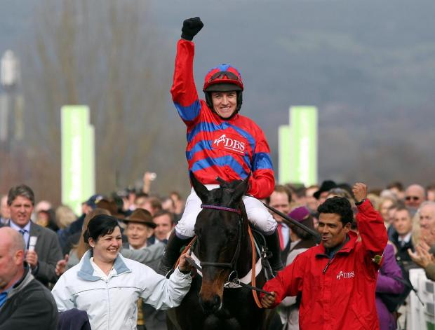 Barry Geraghty celebrates his Arkle Trophy victory on Sprinter Sacre in March