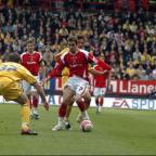 Lee Cook in action against Southampton during his first Valley stay in 2008