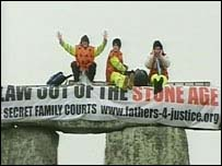 The protesters at Stonehenge
