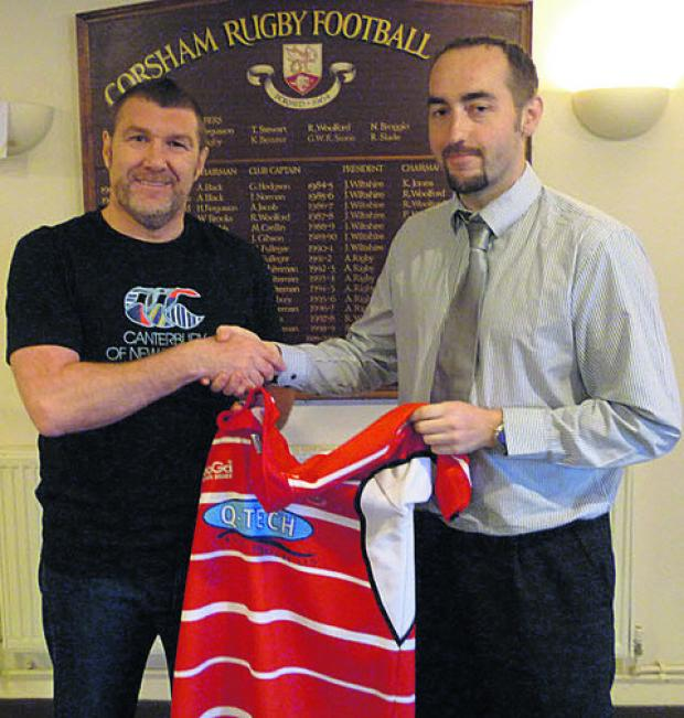 New Corsham head coach Dan Jeffries, left, with chairman Adrian Jones