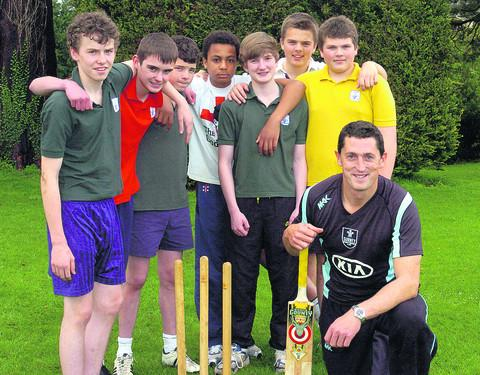 Jon Lewis with pupils, from left, Ronan, Jordan, Henley, Will, Jon, Harry and Charlie                            (39089) PICTURE BY paul morris