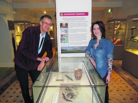 Museum director David Dawson and assistant curator Kerry Nickels at the exhibition about Devizes and the Roundway Warrior