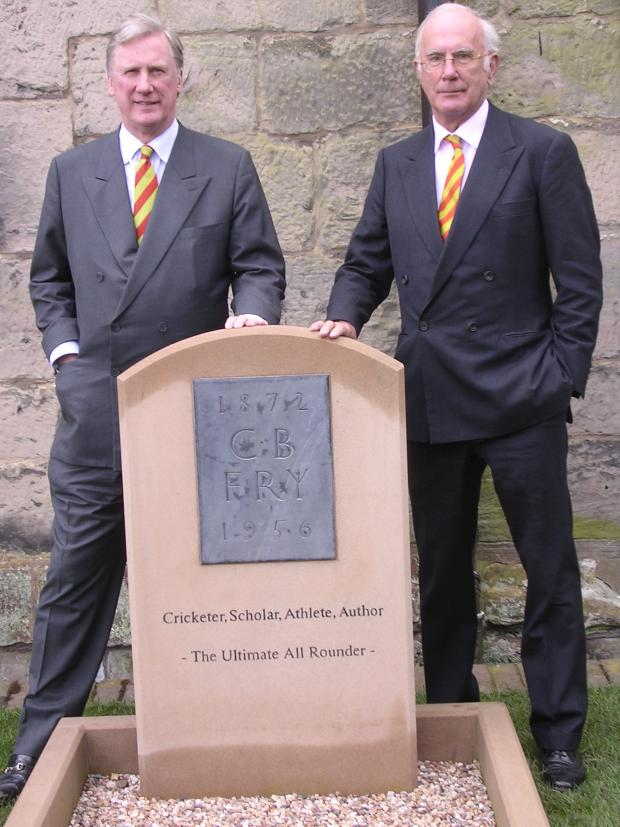 Tribute: C.B Fry's grandsons Charles and Jonathan with his new headstone