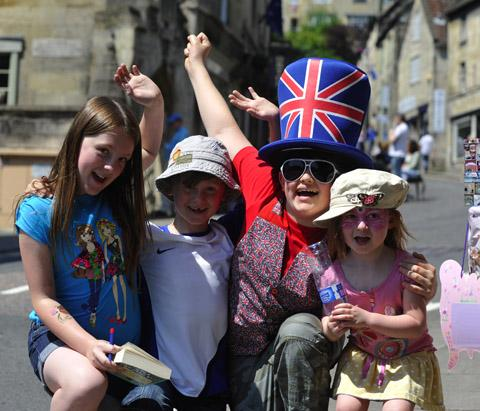 Crowds gathered to greet the torch in Bradford on Avon yesterday
