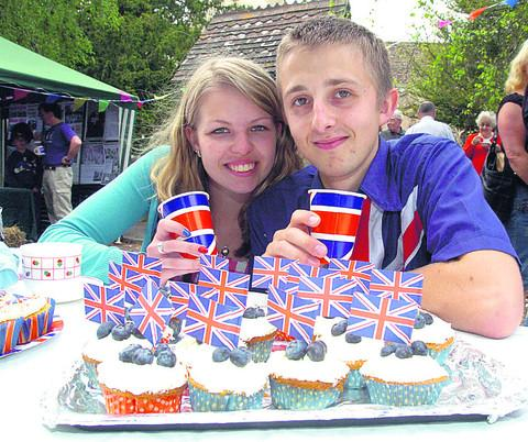 Jenna Crosby and Matt Callaway enjoy Hilmarton's Jubilee party