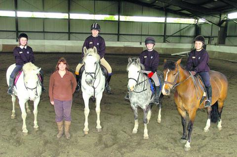 Tracy Richards, second left, with Pewsey Vale students Miles Richards, Kate Marshall, Milla Callis-Nichols and Georgie Kendall