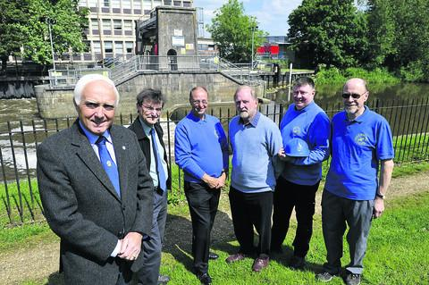 Wilts & Berks Canal Trust chairman John Laverick, left, with volunteers from the Melksham, Calne and Chippenham branches – company secretary Chris Coyler, Malcolm Hutchinson, Colin Fletcher, Rob Jones and Brian De'Ath