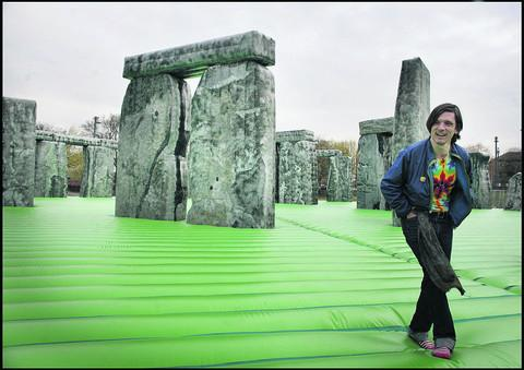 Artist Jeremy Deller and his inflatable Stonehenge Picture Angela Catlin