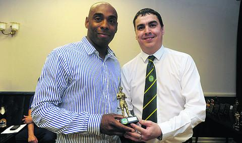 Level seven winner Sam Allison, left, with referees' appointments secretary Gary Stonham