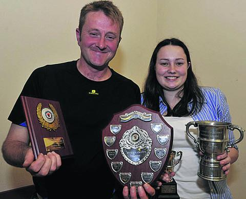 Roy Wenham and Sophie Wootton of Calne Eagles with their club's haul of three awards