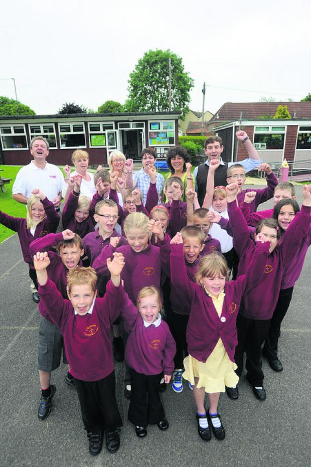 Staff and pupils at Chirton Primary School celebrate
