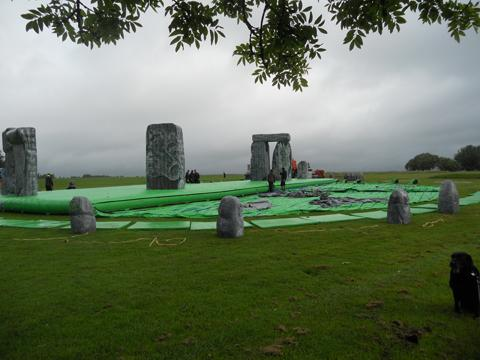 The inflatable Stonehenge being installed in Marlborough this morning
