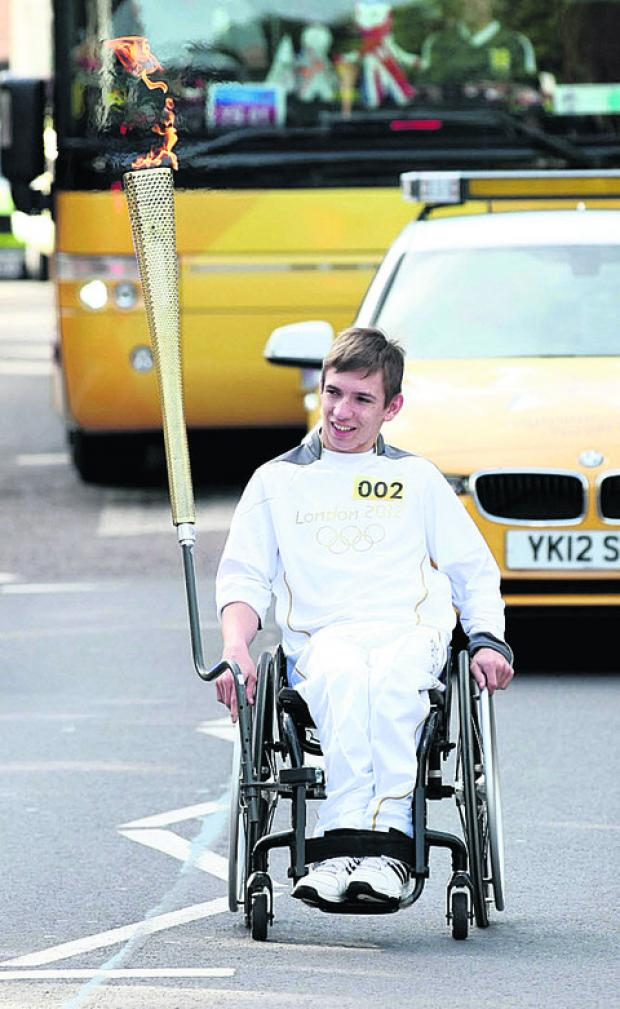William Copp carries the flame in Salisbury today
