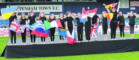 Hilperton Primary School pupils at the opening ceremony at Chippenham Town Football Club