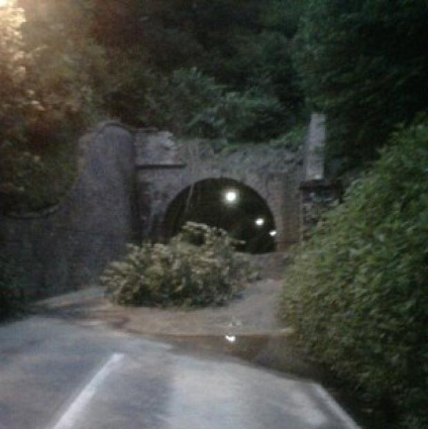 The scene after a landslide at Beaminster Tunnel in Dorset which killed Rosemary Snell and friend Michael Rolfe
