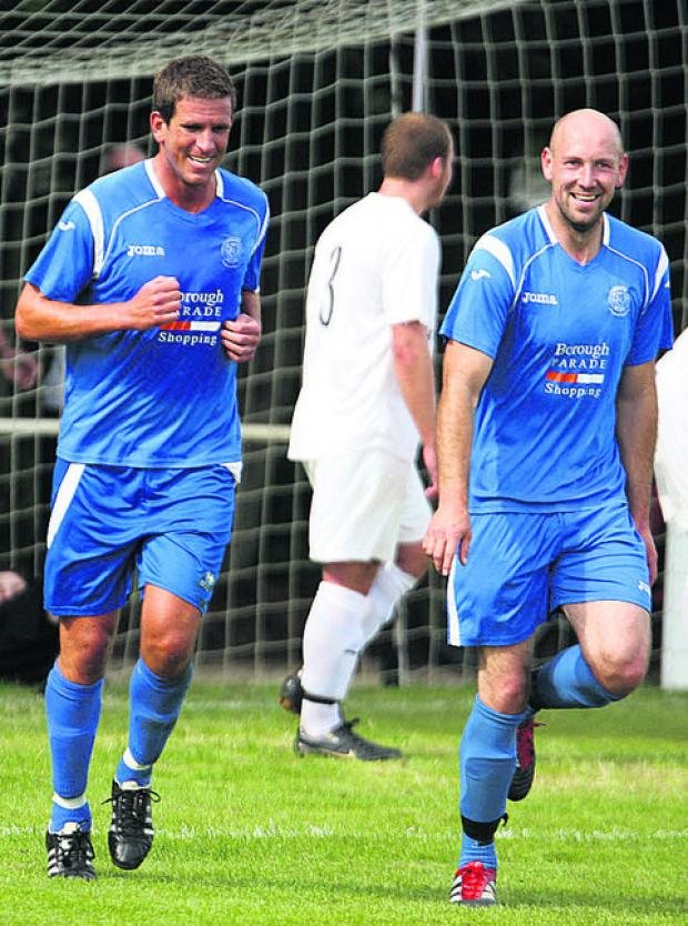 Nathan Rudge celebrates his goal against Calne with striker Alan Griffin (Picture by Robin Foster)