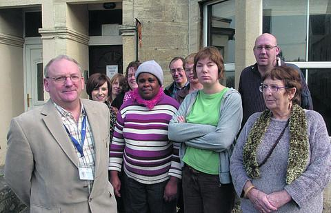 Tony Butler, CEO of Wiltshire Mind, with staff and clients at the charity's Trowbridge base