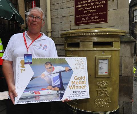 Ed McKeever's dad Derek with the golden postbox