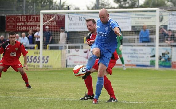 Alan Griffin in action during Chippenham's friendly defeat yesterday