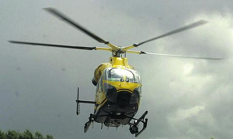 A 70-year-old cyclist from Bromham was airlifte