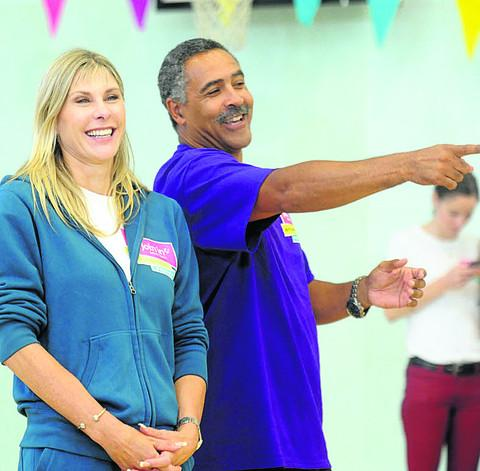 Sharron Davies and Daley Thompson watch the young Ninjas go through their paces