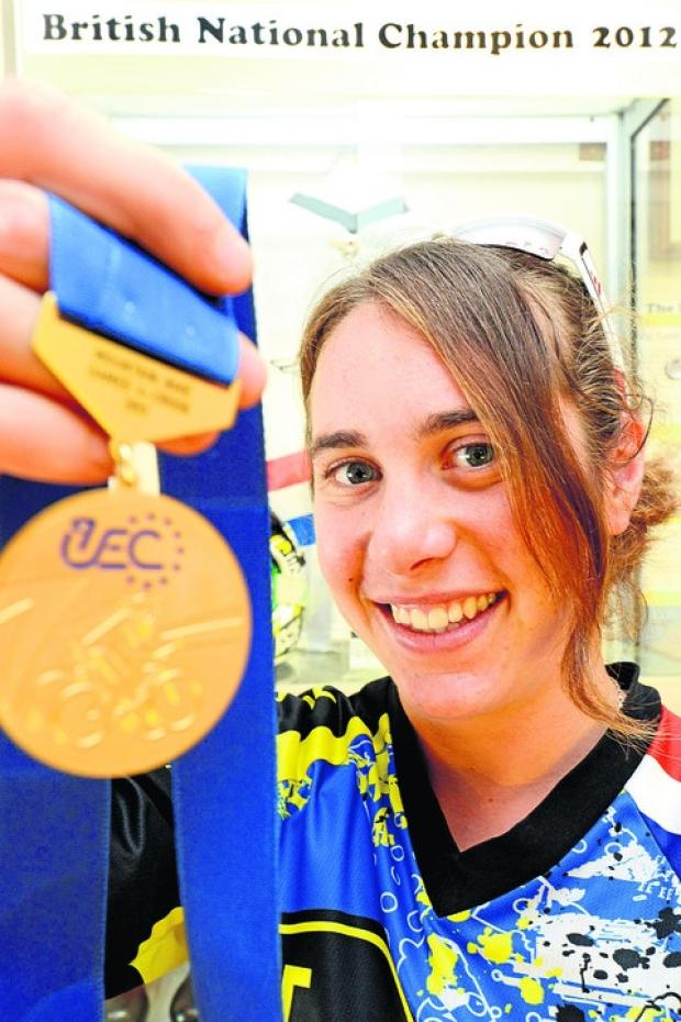 Katy Curd shows off her European medal