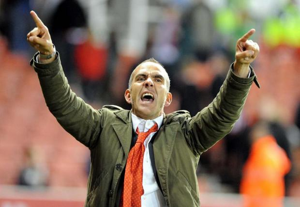 Town boss Paolo Di Canio celebrates beating Stoke last night