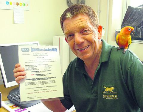 Andy Sheppard promotes the RSPCA event with the help of a feathered friend