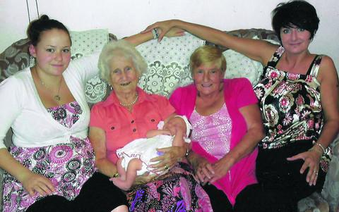Dorothy Pinnell, 92, holding latest arrival Ava Hurkett with, from left, Rhianne Hurkett, Sharyn Edmonds and Pauline Hurkett